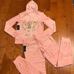 Juicy Couture crystal logo velour hoodie & pant
